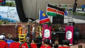 Flag hoiting ceremony at the Games Village