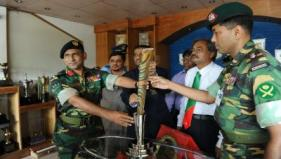 The Queen's Baton 2010 Delhi being displayed the Army Stadium in Dhaka, Bangladesh