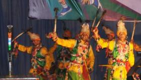 A folk dance in the honor of lord Krishana is performed at the Evening Culture Ceremony in Gwalior