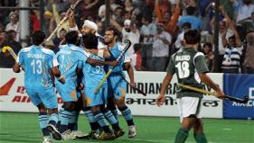 Indian players celebrate after scoring their second goal against Pakistan in the Men's Hockey Pool A Match. -PTI