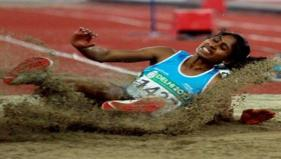 India's Prajusha Maliakkal in action during the women's long jump event. - PTI