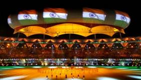 Indian national flag projected on the aerostat during the Closing Ceremony - PTI