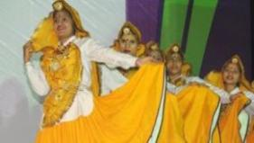 Folk dancers performing during the evening cultural ceremony in Sirsa