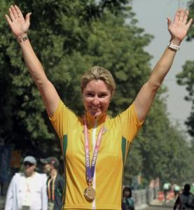 Australia's Gilmore Rochelle winning the Gold in the 112km Women's Road Race -PTI