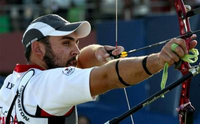 Canada's Jason Lyon in action during the Men's Individual Recurve Archery -PTI